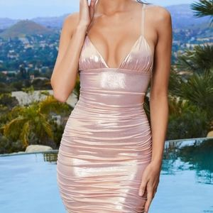 Oh Polly Clear Strap Metallic Dress